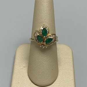 Jewelry - 14K Yellow Gold Emerald and Diamond Ring
